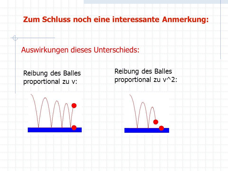Zum Schluss noch eine interessante Anmerkung: Reibung des Balles proportional zu v^2: Reibung des Balles proportional zu v: Auswirkungen dieses Unters