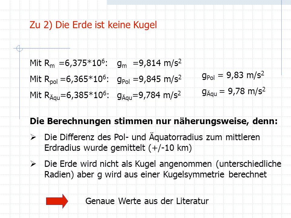 Mit R m =6,375*10 6 :g m =9,814 m/s 2 Mit R pol =6,365*10 6 :g Pol =9,845 m/s 2 Mit R Äqu =6,385*10 6 :g Äqu =9,784 m/s 2 Zu 2) Die Erde ist keine Kug