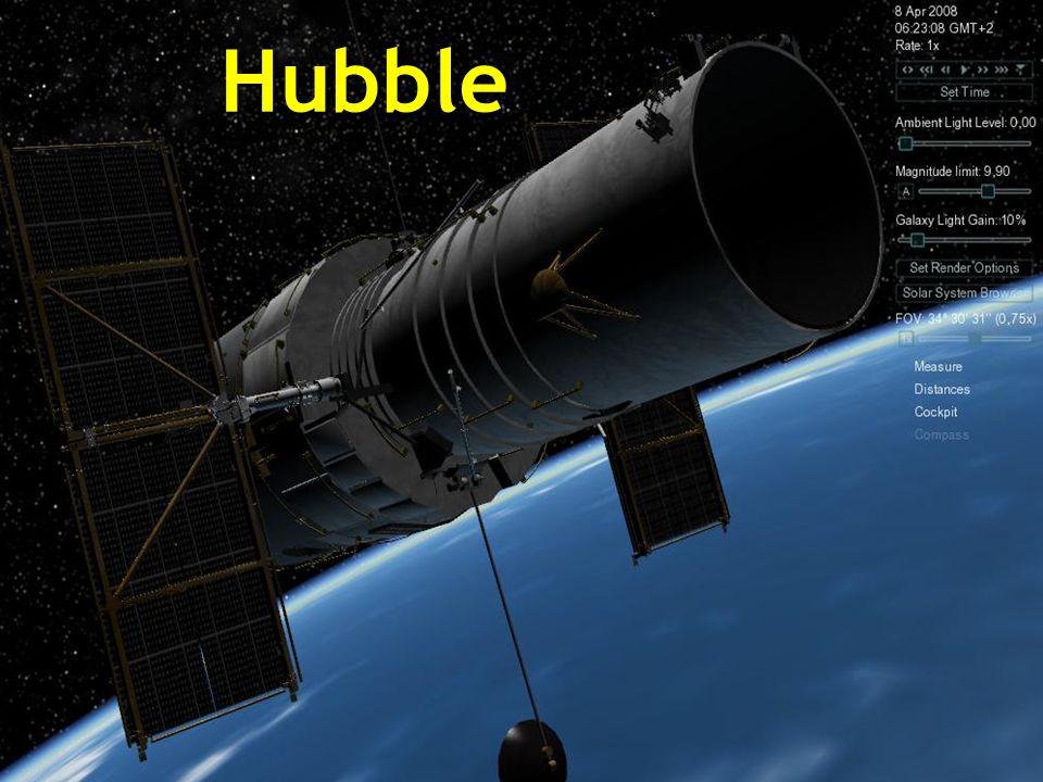 Das Hubble-Teleskop befindet sich außerhalb unserer Atmosphäre und kreist um die Erde in 593 km Höhe über dem Meeresspiegel in einer Zeit von 96 bis 97 Minuten mit einer Geschwindigkeit von 28.000 km/h.
