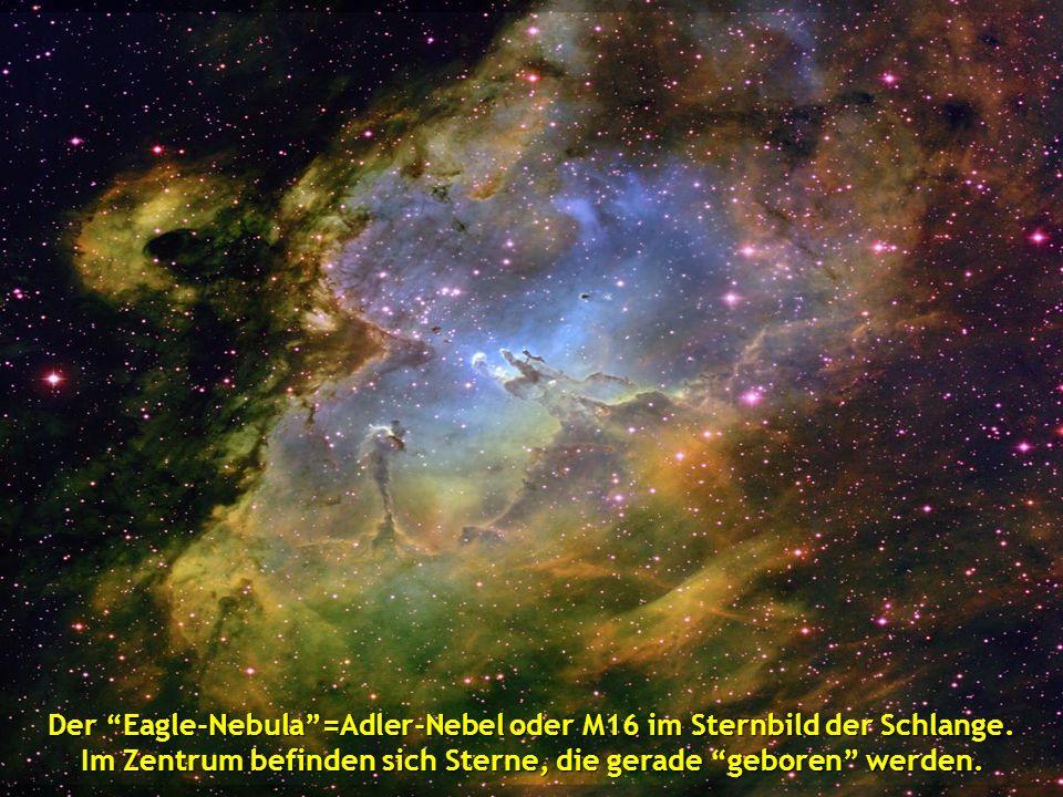 Der Eagle-Nebula=Adler-Nebel oder M16 im Sternbild der Schlange. Im Zentrum befinden sich Sterne, die gerade geboren werden.