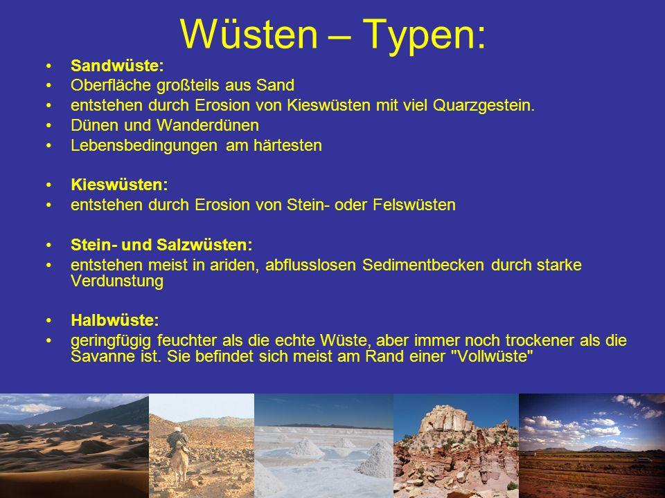 Wüsten – Typen: Sandwüste: Oberfläche großteils aus Sand entstehen durch Erosion von Kieswüsten mit viel Quarzgestein. Dünen und Wanderdünen Lebensbed