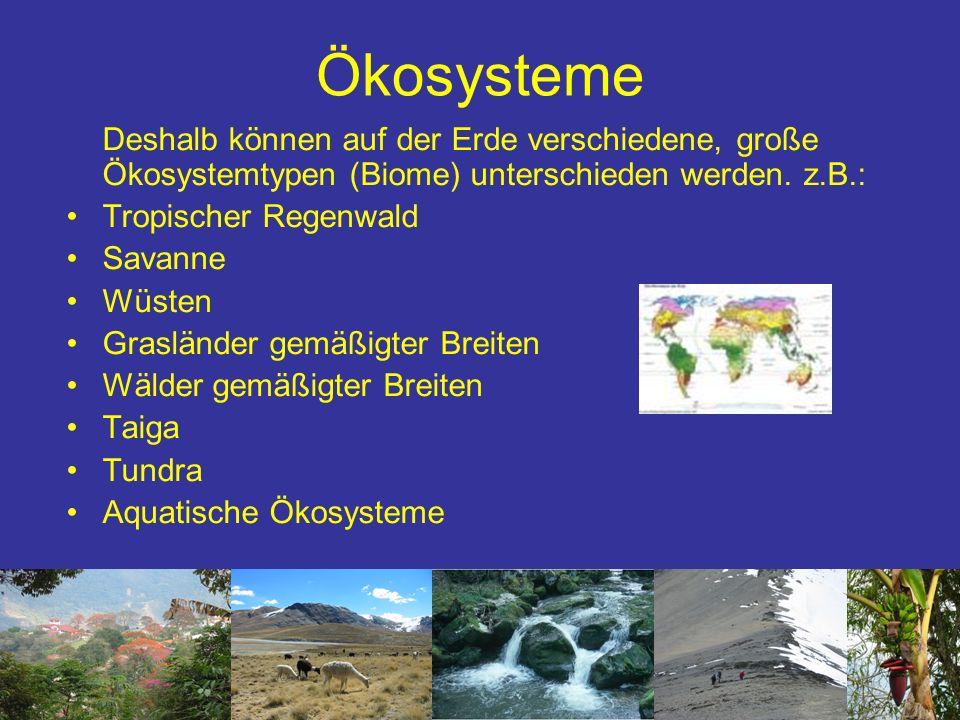 Ökosysteme Deshalb können auf der Erde verschiedene, große Ökosystemtypen (Biome) unterschieden werden. z.B.: Tropischer Regenwald Savanne Wüsten Gras
