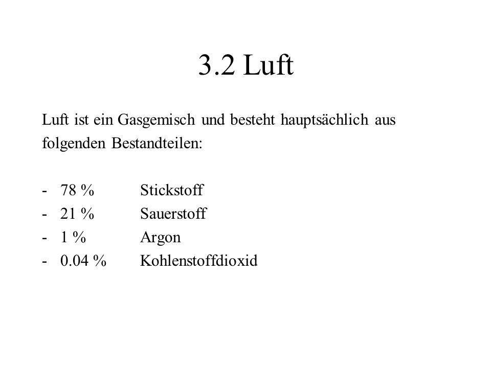 3.2 Luft Luft ist ein Gasgemisch und besteht hauptsächlich aus folgenden Bestandteilen: -78 % Stickstoff -21 % Sauerstoff -1 % Argon -0.04 % Kohlensto
