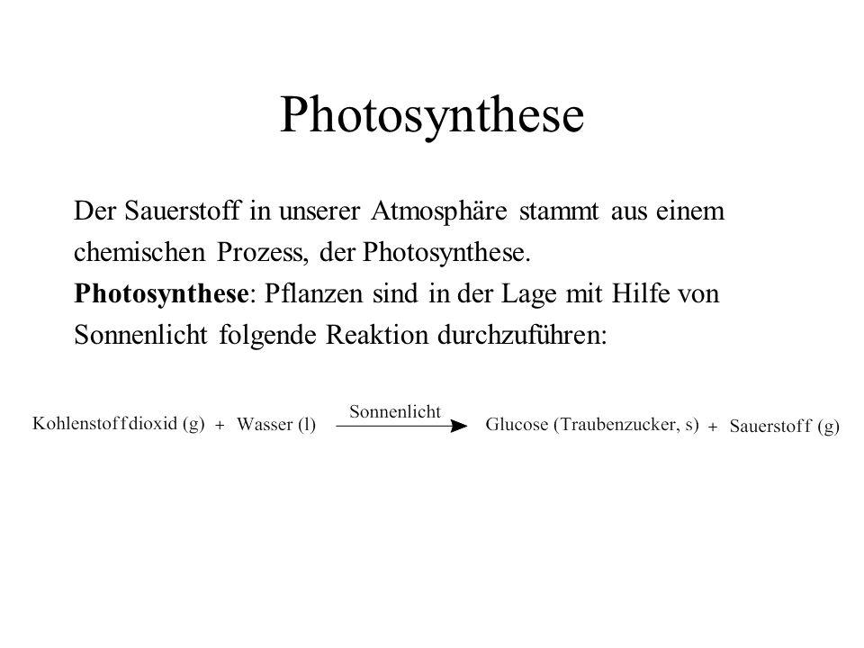 Photosynthese Der Sauerstoff in unserer Atmosphäre stammt aus einem chemischen Prozess, der Photosynthese. Photosynthese: Pflanzen sind in der Lage mi
