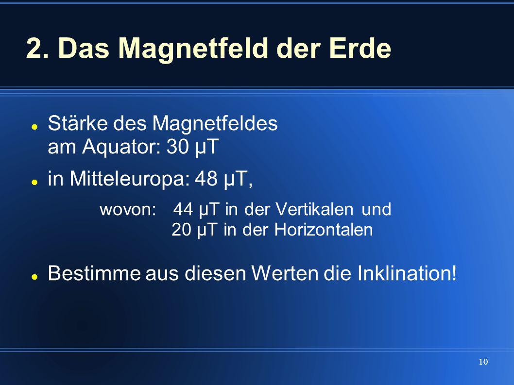 10 2. Das Magnetfeld der Erde Stärke des Magnetfeldes am Aquator: 30 μ T in Mitteleuropa: 48 μ T, wovon:44 μ T in der Vertikalen und 20 μ T in der Hor