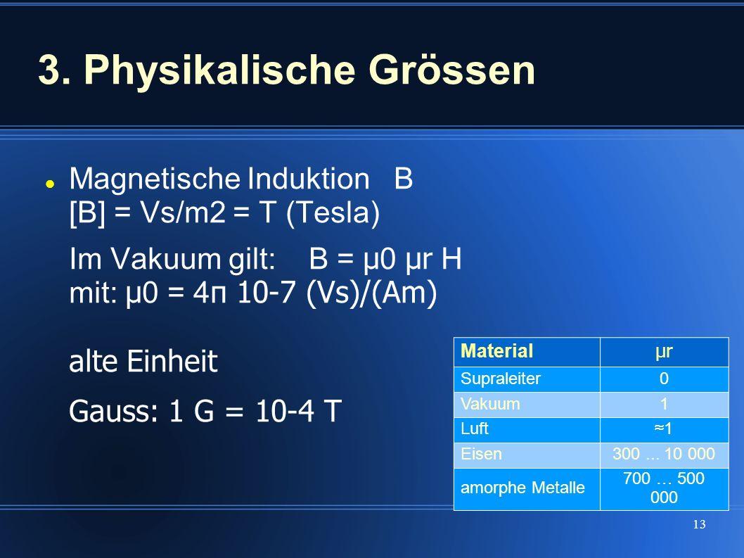 13 3. Physikalische Grössen Magnetische Induktion B [B] = Vs/m2 = T (Tesla) Im Vakuum gilt: B = μ 0 μr H mit: μ 0 = 4 π 10-7 (Vs)/(Am) alte Einheit Ga