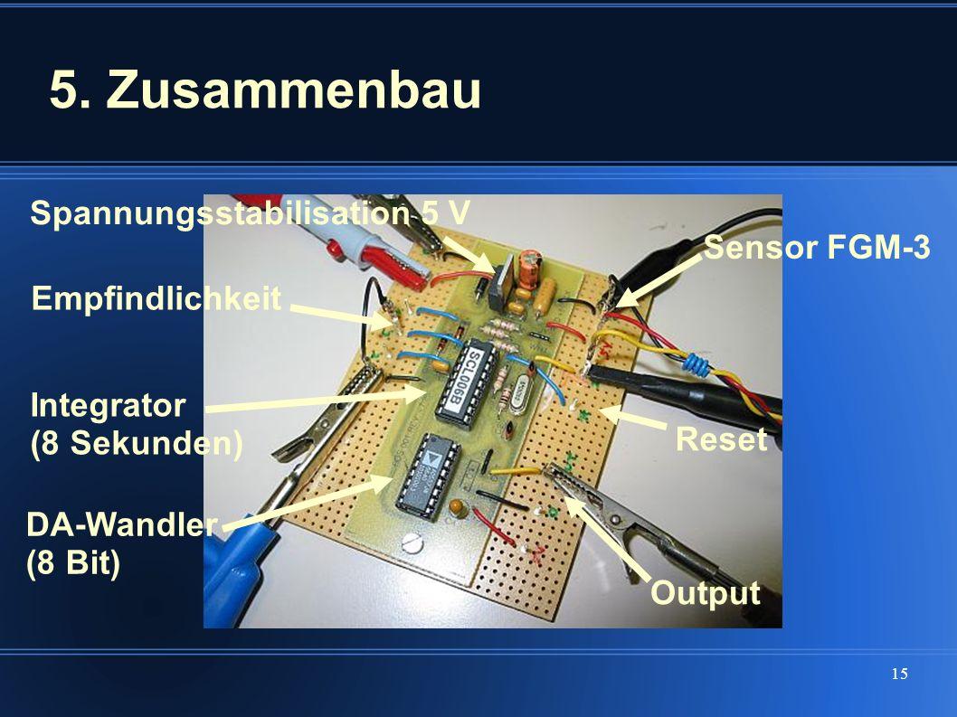 15 5. Zusammenbau Spannungsstabilisation 5 V Sensor FGM-3 Integrator (8 Sekunden) Empfindlichkeit DA-Wandler (8 Bit) Output Reset
