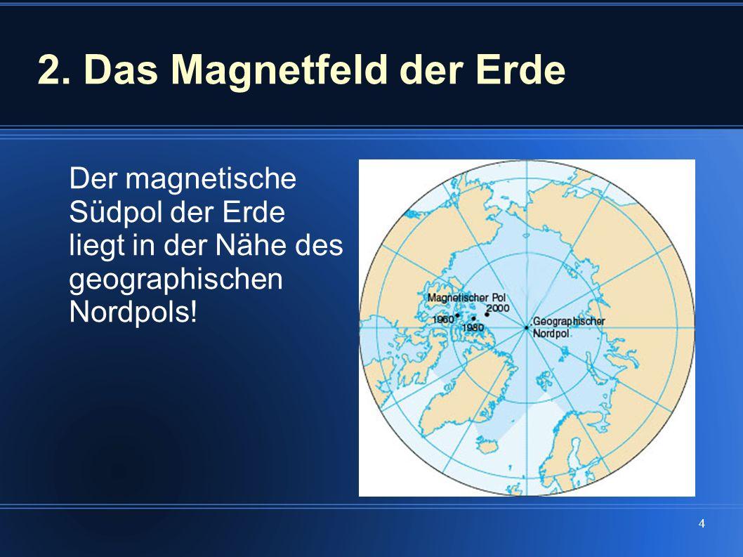 4 2. Das Magnetfeld der Erde Der magnetische Südpol der Erde liegt in der Nähe des geographischen Nordpols!