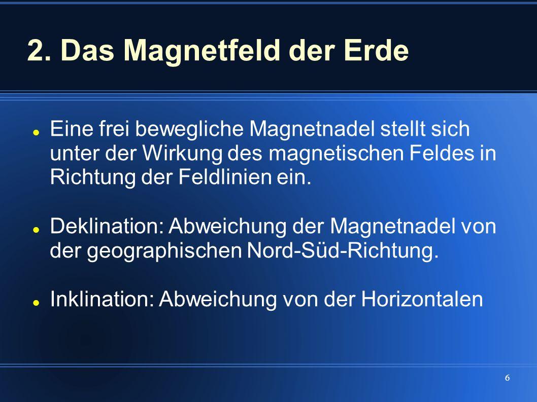 6 Eine frei bewegliche Magnetnadel stellt sich unter der Wirkung des magnetischen Feldes in Richtung der Feldlinien ein. Deklination: Abweichung der M