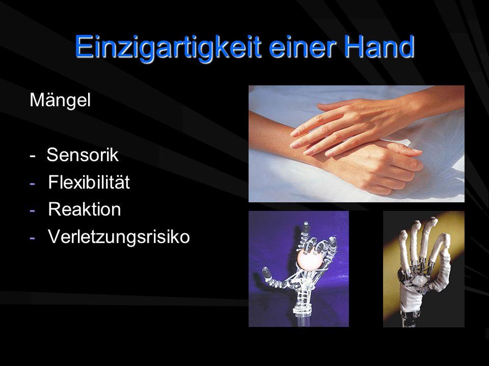 Einzigartigkeit einer Hand Mängel - Sensorik - Flexibilität - Reaktion - Verletzungsrisiko