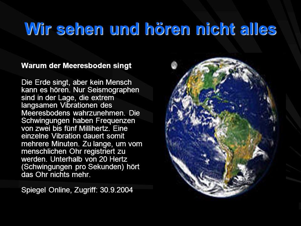 Wir sehen und hören nicht alles Warum der Meeresboden singt Die Erde singt, aber kein Mensch kann es hören. Nur Seismographen sind in der Lage, die ex