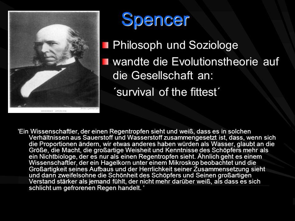 Spencer 'Ein Wissenschaftler, der einen Regentropfen sieht und weiß, dass es in solchen Verhältnissen aus Sauerstoff und Wasserstoff zusammengesetzt i