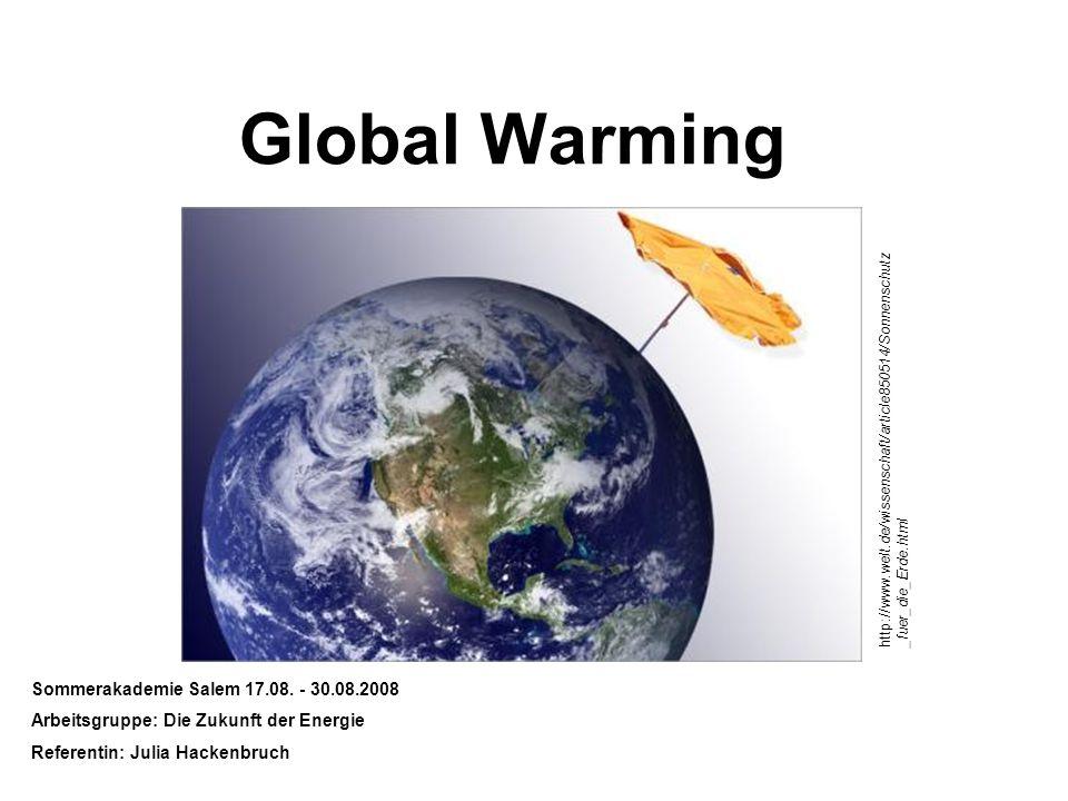 Global Warming Sommerakademie Salem 17.08. - 30.08.2008 Arbeitsgruppe: Die Zukunft der Energie Referentin: Julia Hackenbruch http://www.welt.de/wissen