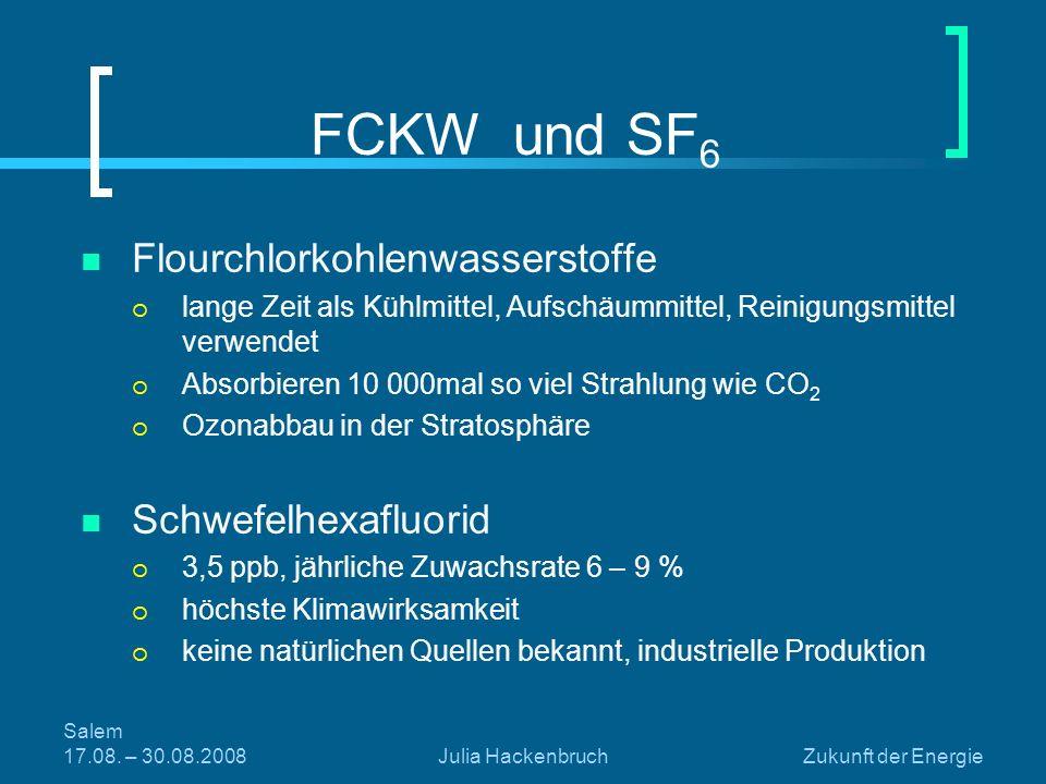 Salem 17.08. – 30.08.2008Julia HackenbruchZukunft der Energie FCKW und SF 6 Flourchlorkohlenwasserstoffe lange Zeit als Kühlmittel, Aufschäummittel, R