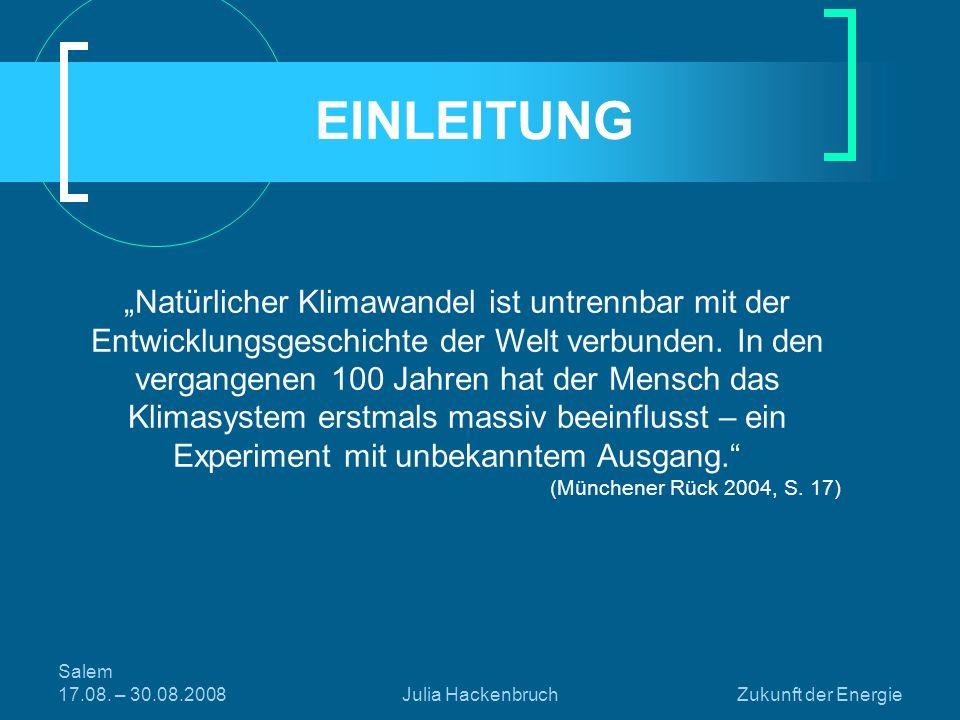 Salem 17.08.– 30.08.2008Julia HackenbruchZukunft der Energie GLIEDERUNG 1.