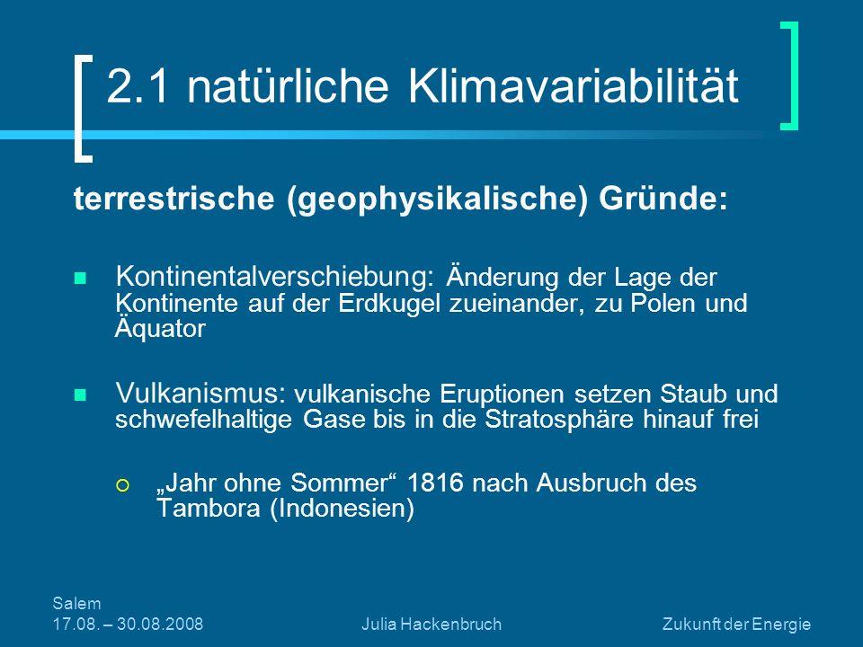 Salem 17.08. – 30.08.2008Julia HackenbruchZukunft der Energie terrestrische (geophysikalische) Gründe: Kontinentalverschiebung: Änderung der Lage der