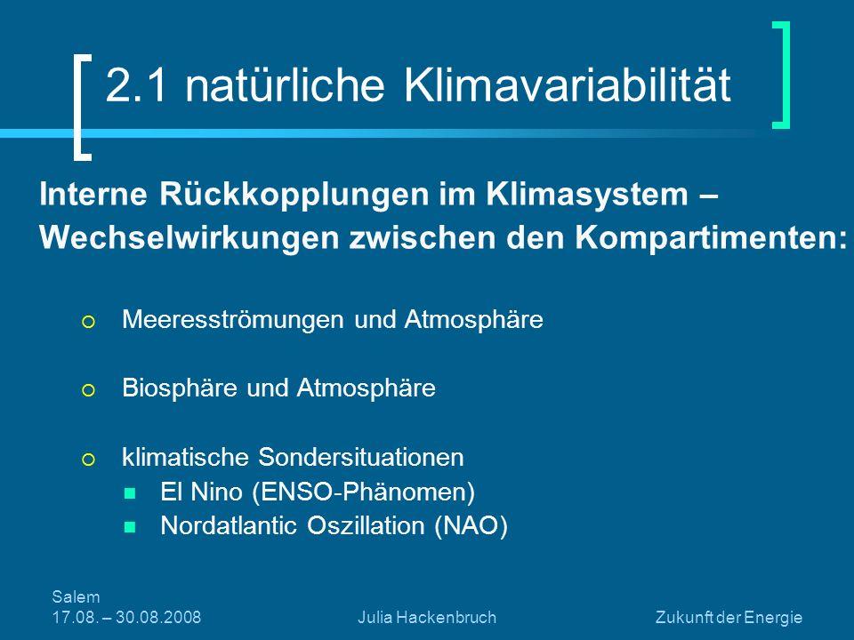 Salem 17.08. – 30.08.2008Julia HackenbruchZukunft der Energie Interne Rückkopplungen im Klimasystem – Wechselwirkungen zwischen den Kompartimenten: Me