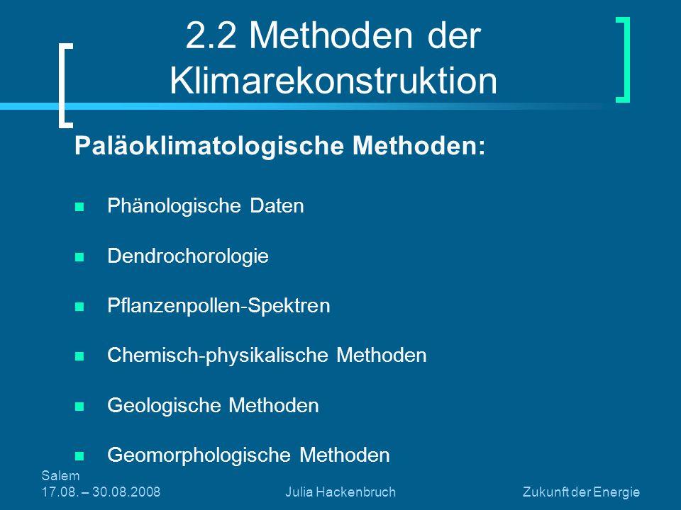 Salem 17.08. – 30.08.2008Julia HackenbruchZukunft der Energie 2.2 Methoden der Klimarekonstruktion Paläoklimatologische Methoden: Phänologische Daten