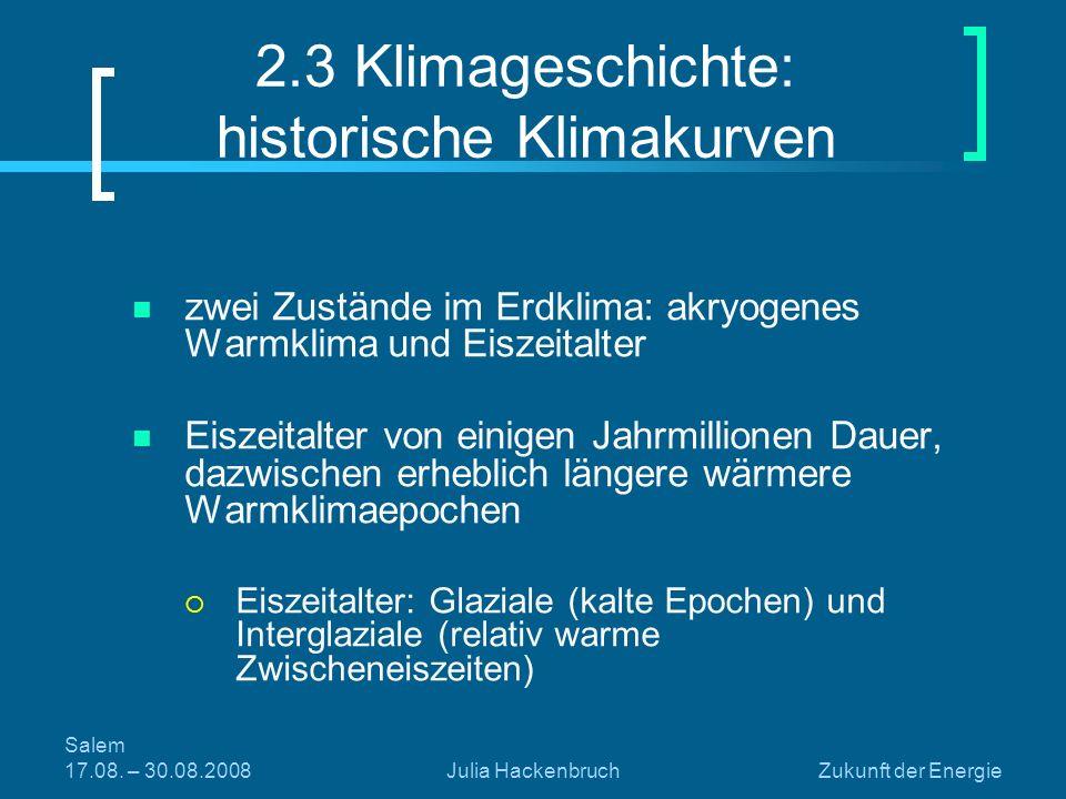 Salem 17.08. – 30.08.2008Julia HackenbruchZukunft der Energie 2.3 Klimageschichte: historische Klimakurven zwei Zustände im Erdklima: akryogenes Warmk