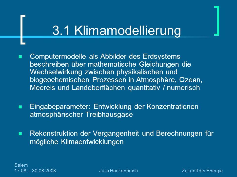 Salem 17.08. – 30.08.2008Julia HackenbruchZukunft der Energie 3.1 Klimamodellierung Computermodelle als Abbilder des Erdsystems beschreiben über mathe