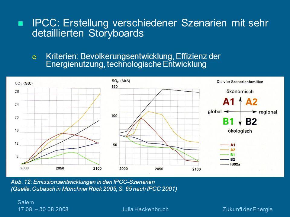 Salem 17.08. – 30.08.2008Julia HackenbruchZukunft der Energie IPCC: Erstellung verschiedener Szenarien mit sehr detaillierten Storyboards Kriterien: B