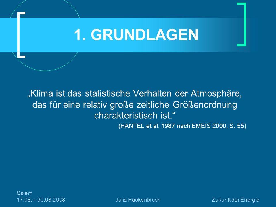 Salem 17.08. – 30.08.2008Julia HackenbruchZukunft der Energie 1. GRUNDLAGEN Klima ist das statistische Verhalten der Atmosphäre, das für eine relativ