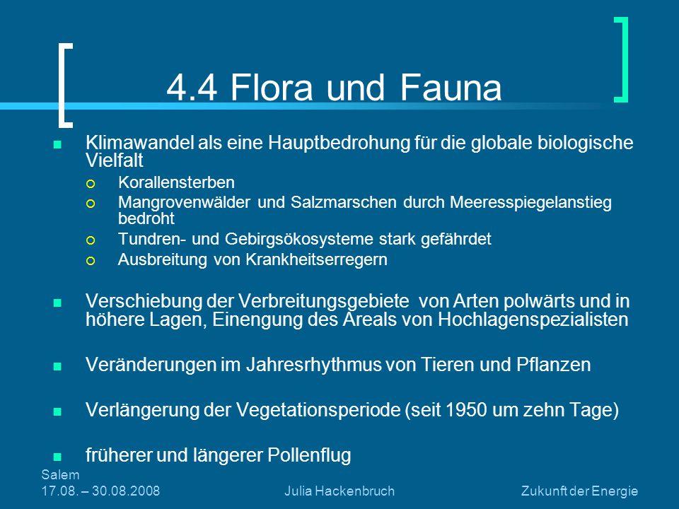 Salem 17.08. – 30.08.2008Julia HackenbruchZukunft der Energie 4.4 Flora und Fauna Klimawandel als eine Hauptbedrohung für die globale biologische Viel