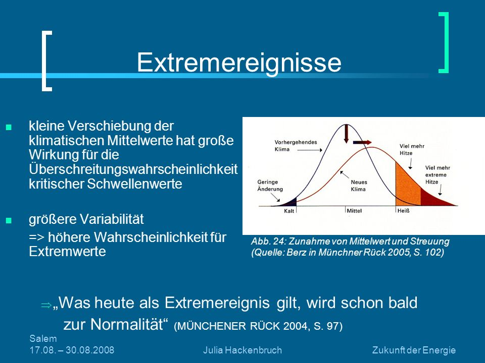 Salem 17.08. – 30.08.2008Julia HackenbruchZukunft der Energie Extremereignisse kleine Verschiebung der klimatischen Mittelwerte hat große Wirkung für