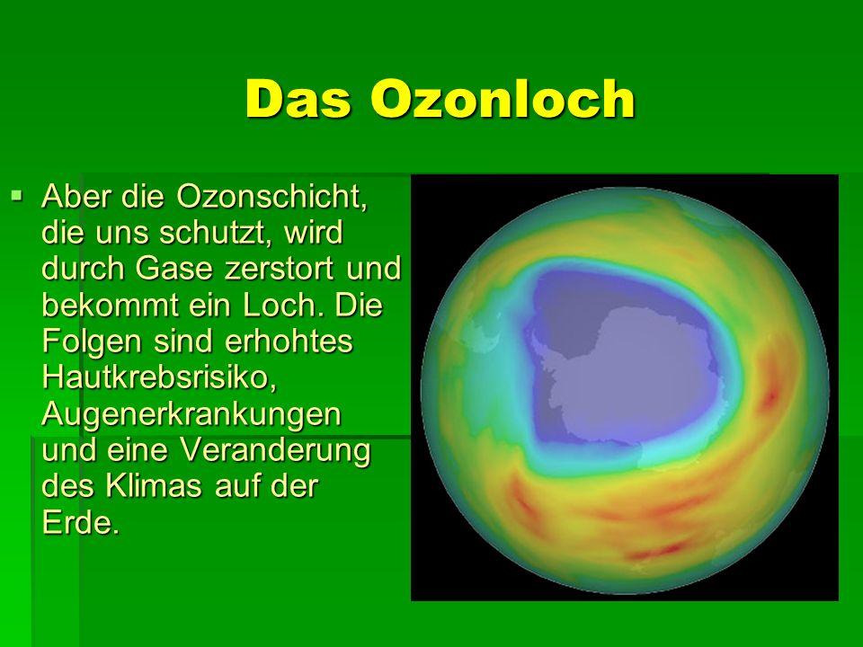 Das Ozonloch Aber die Ozonschicht, die uns schutzt, wird durch Gase zerstort und bekommt ein Loch. Die Folgen sind erhohtes Hautkrebsrisiko, Augenerkr