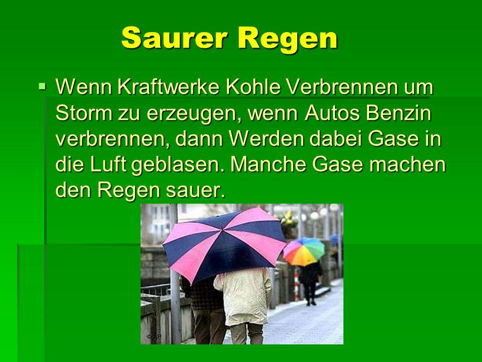 Saurer Regen Wenn Kraftwerke Kohle Verbrennen um Storm zu erzeugen, wenn Autos Benzin verbrennen, dann Werden dabei Gase in die Luft geblasen. Manche