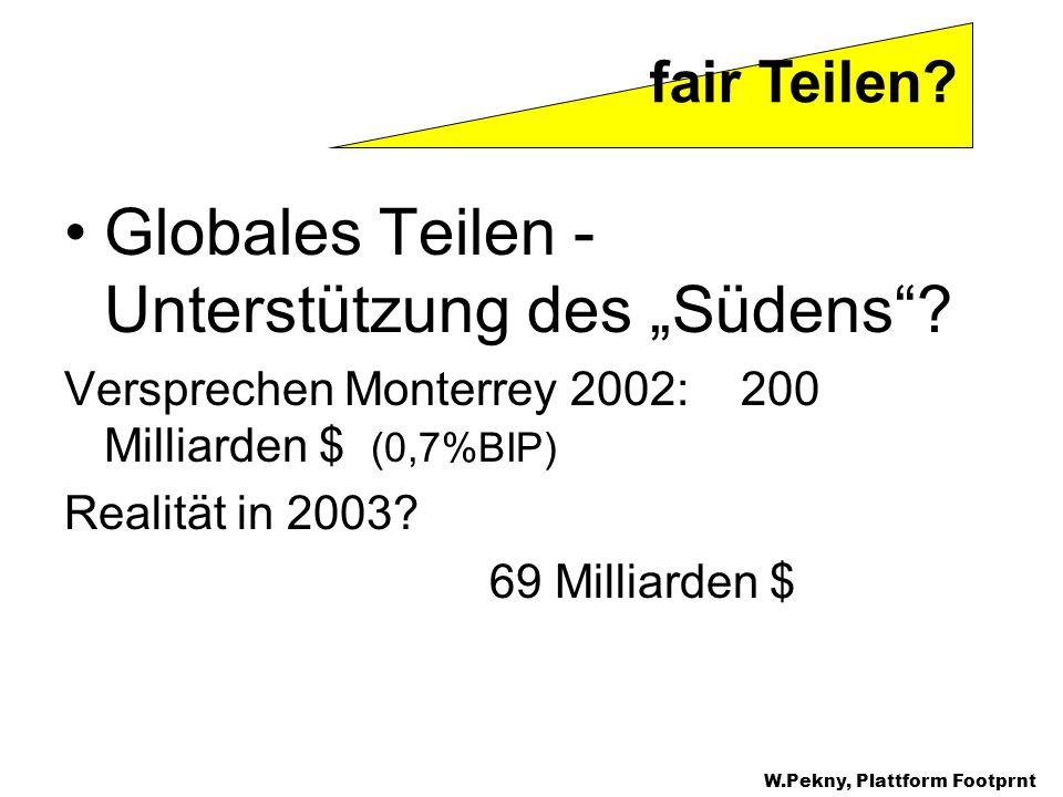 Globales Teilen - Unterstützung des Südens? Versprechen Monterrey 2002: 200 Milliarden $ (0,7%BIP) Realität in 2003? 69 Milliarden $ fair Teilen? W.Pe
