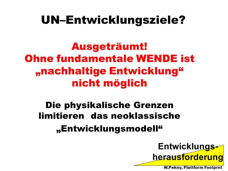 UN–Entwicklungsziele? Ausgeträumt! Ohne fundamentale WENDE ist nachhaltige Entwicklung nicht möglich Die physikalische Grenzen limitieren das neoklass