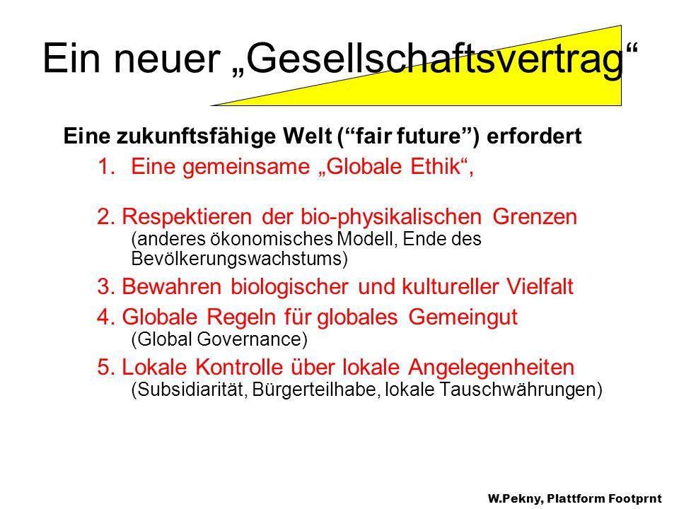 Eine zukunftsfähige Welt (fair future) erfordert 1.Eine gemeinsame Globale Ethik, 2. Respektieren der bio-physikalischen Grenzen (anderes ökonomisches