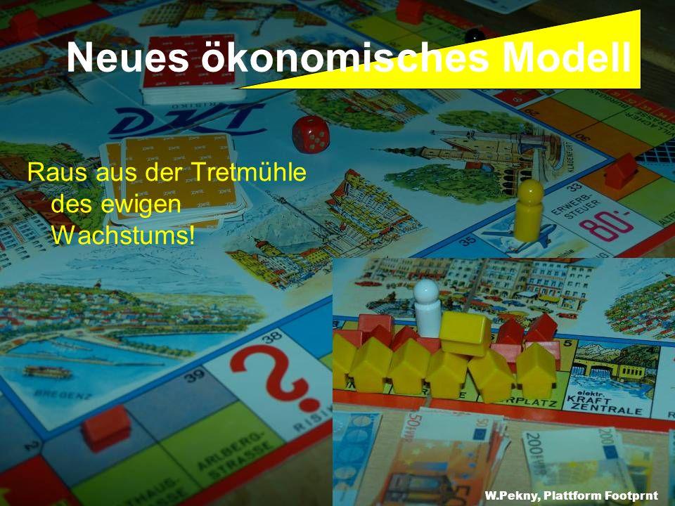 Raus aus der Tretmühle des ewigen Wachstums! W.Pekny, Greenpeace CEE Neues ökonomisches Modell W.Pekny, Plattform Footprnt