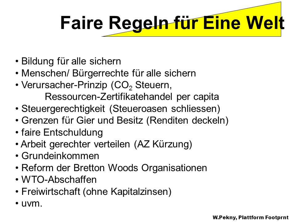 W.Pekny, Greenpeace CEE Faire Regeln für Eine Welt Bildung für alle sichern Menschen/ Bürgerrechte für alle sichern Verursacher-Prinzip (CO 2 Steuern,