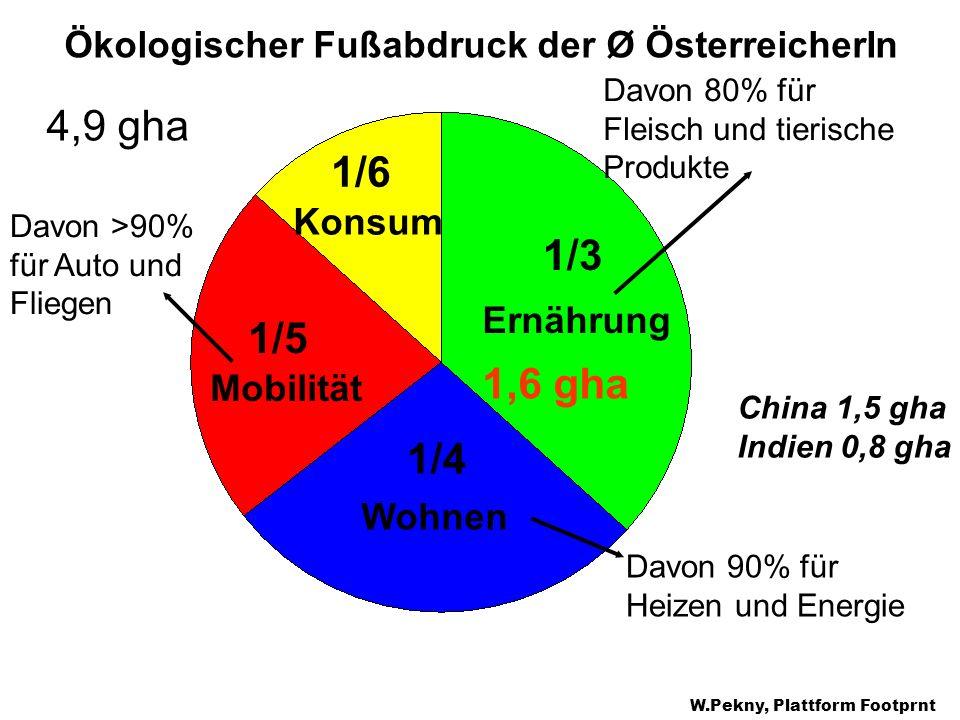 Ernährung Konsum Mobilität Wohnen 1/3 1/4 1/6 1/5 Ökologischer Fußabdruck der Ø ÖsterreicherIn 4,9 gha Davon 80% für Fleisch und tierische Produkte Da