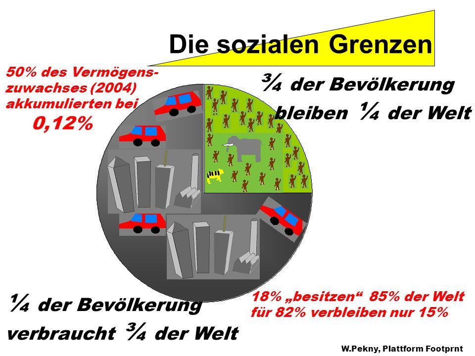 Die sozialen Grenzen ¼ der Bevölkerung verbraucht ¾ der Welt ¾ der Bevölkerung bleiben ¼ der Welt 18% besitzen 85% der Welt für 82% verbleiben nur 15%