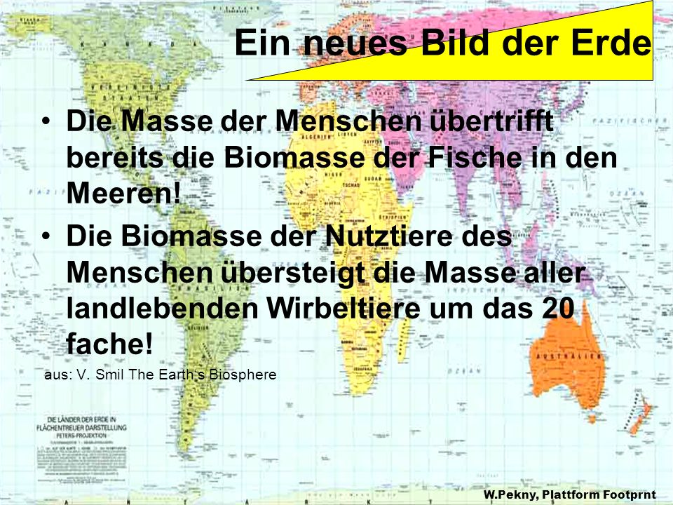 Die Masse der Menschen übertrifft bereits die Biomasse der Fische in den Meeren! Die Biomasse der Nutztiere des Menschen übersteigt die Masse aller la