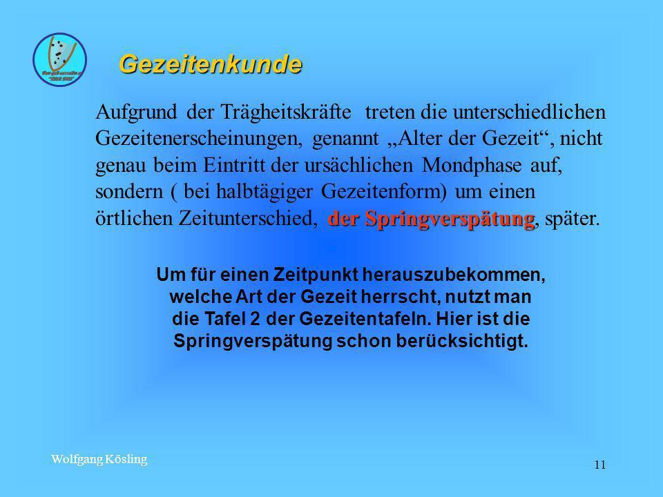 Wolfgang Kösling 11 Gezeitenkunde der Springverspätung Aufgrund der Trägheitskräfte treten die unterschiedlichen Gezeitenerscheinungen, genannt Alter