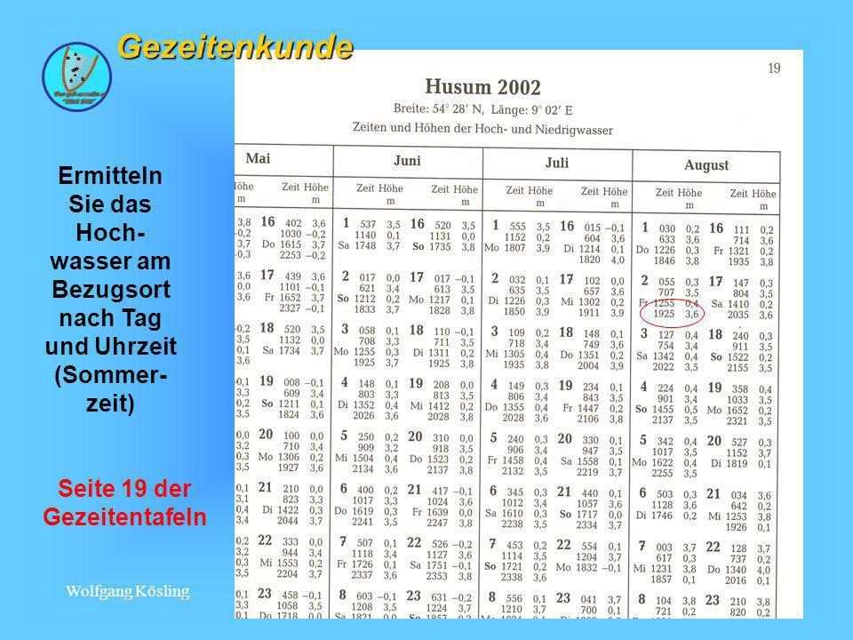 Wolfgang Kösling 17 Gezeitenkunde Ermitteln Sie das Hoch- wasser am Bezugsort nach Tag und Uhrzeit (Sommer- zeit) Seite 19 der Gezeitentafeln