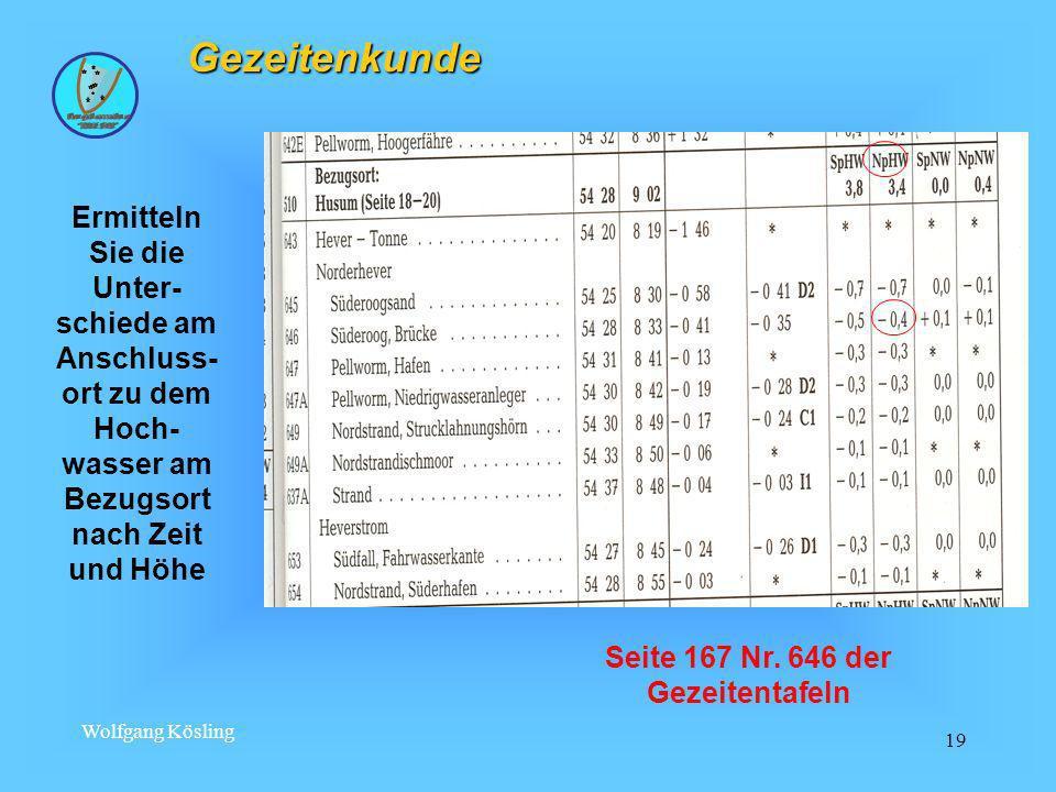 Wolfgang Kösling 19 Gezeitenkunde Ermitteln Sie die Unter- schiede am Anschluss- ort zu dem Hoch- wasser am Bezugsort nach Zeit und Höhe Seite 167 Nr.