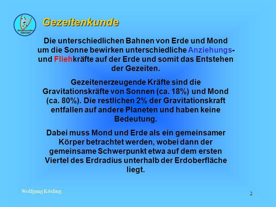Wolfgang Kösling 2 Gezeitenkunde Die unterschiedlichen Bahnen von Erde und Mond um die Sonne bewirken unterschiedliche Anziehungs- und Fliehkräfte auf