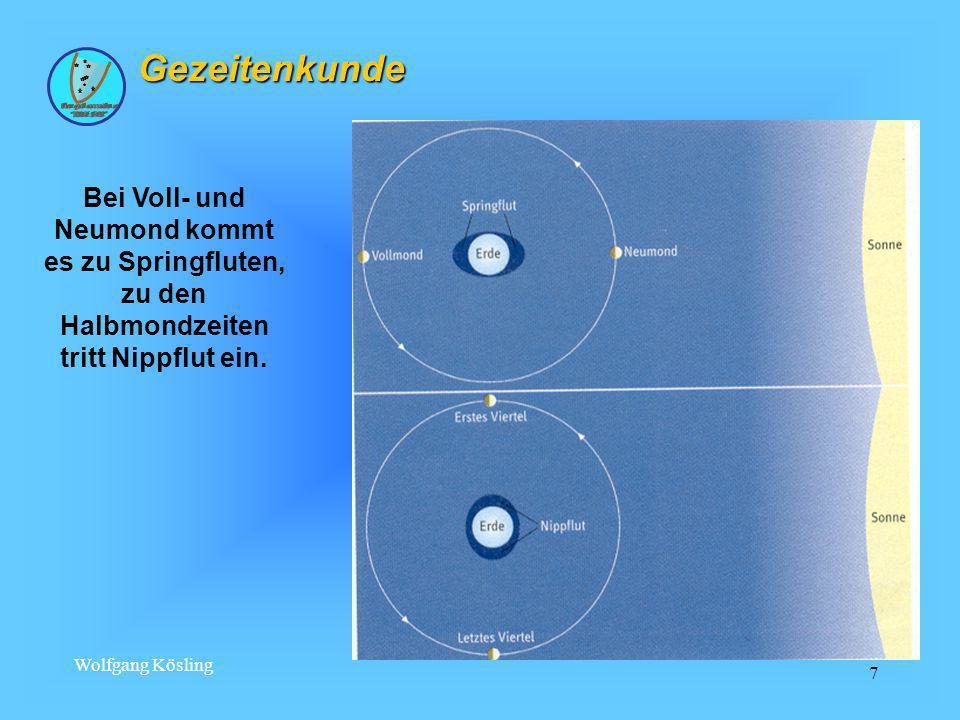 Wolfgang Kösling 8 halbtägige Gezeitenform2 HW, 2 NW je Mondtag gemischte Gezeitenform2 HW, 2 NW, die sich in Zeit und Höhe unterscheiden eintägige Gezeitenform1 HW, 1 NW je Mondtag Die ständige Änderung der Stellung Mond, Erde und Sonne zueinander; die ständig wechselnde Lage der Wassermassen zu Sonne und Mond infolge der Erddrehung; die Gestalt und Größe der Meeresbecken; die verschiedenen Küsten - und Bodenformen; die Beeinflussung der Nebenmeere durch die Ozeane ( z.B.