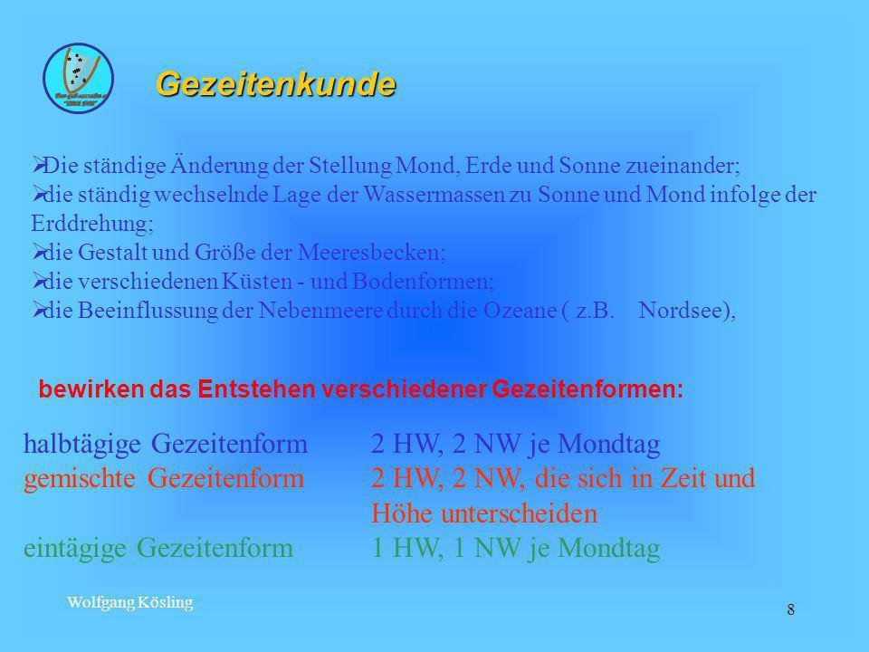 Wolfgang Kösling 8 halbtägige Gezeitenform2 HW, 2 NW je Mondtag gemischte Gezeitenform2 HW, 2 NW, die sich in Zeit und Höhe unterscheiden eintägige Ge