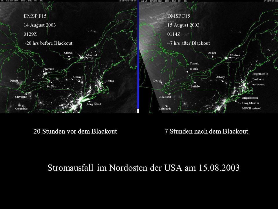 Stromausfall im Nordosten der USA am 15.08.2003 20 Stunden vor dem Blackout7 Stunden nach dem Blackout