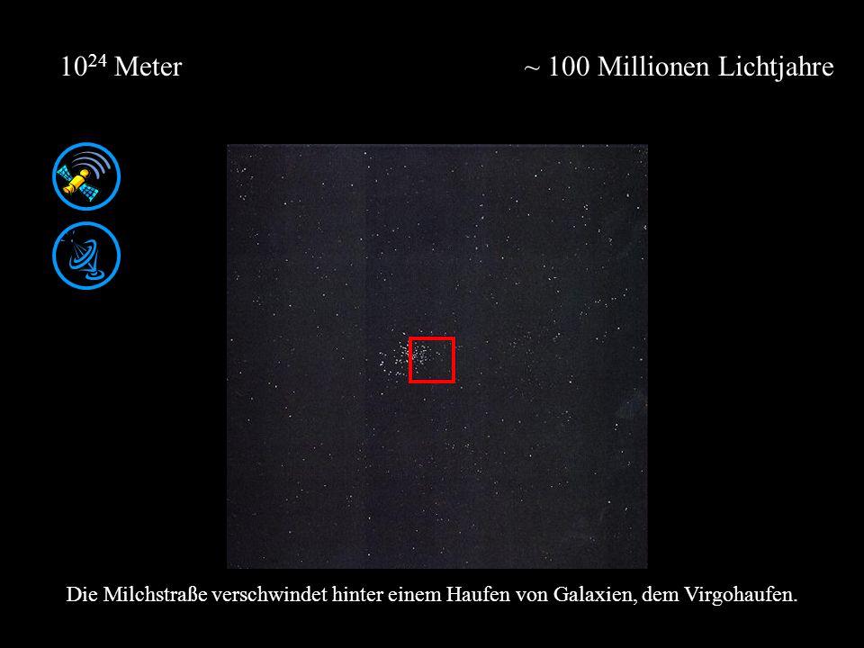 ~ 100 Millionen Lichtjahre10 24 Meter Die Milchstraße verschwindet hinter einem Haufen von Galaxien, dem Virgohaufen.