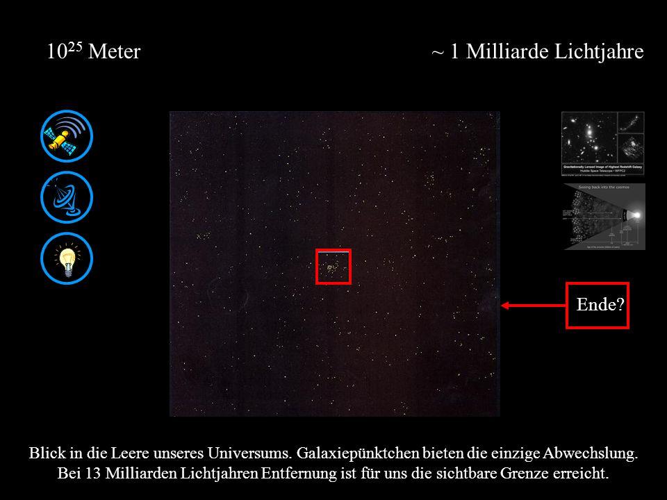 ~ 1 Milliarde Lichtjahre10 25 Meter Blick in die Leere unseres Universums.