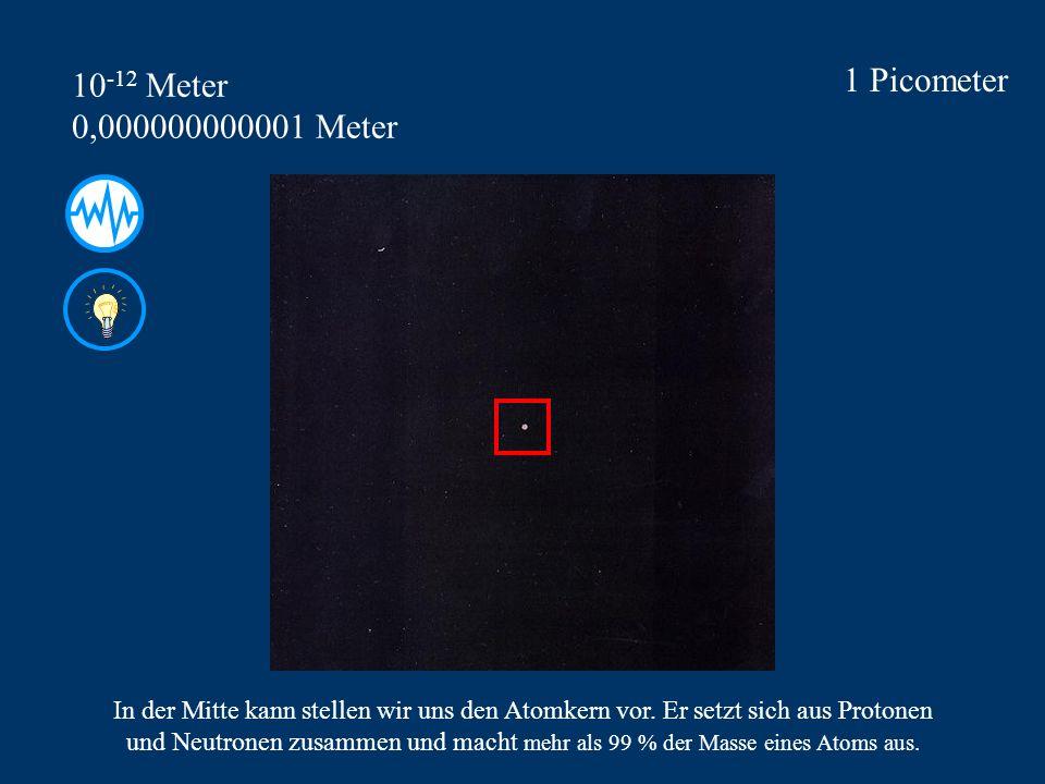 1 Picometer 10 -12 Meter 0,000000000001 Meter In der Mitte kann stellen wir uns den Atomkern vor.