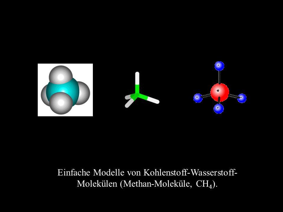 Einfache Modelle von Kohlenstoff-Wasserstoff- Molekülen (Methan-Moleküle, CH 4 ).