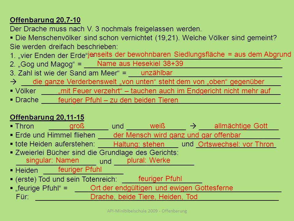 API-Minibibelschule 2009 - Offenbarung Offenbarung 20,7-10 Der Drache muss nach V.